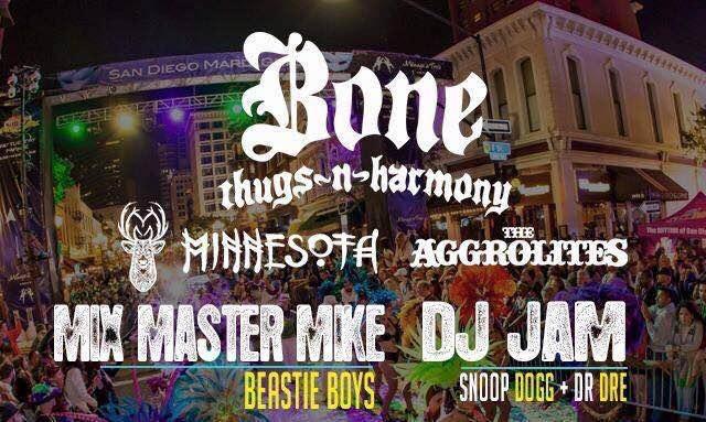 Saturday Feb. 6th / Madi Gras Celebration Downtown Street Block Party featuring Bone Thugs In Harmony / San Diego,CA #DJVATICAN